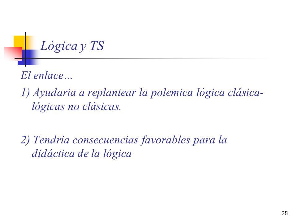 Lógica y TS El enlace… 1) Ayudaria a replantear la polemica lógica clásica-lógicas no clásicas.