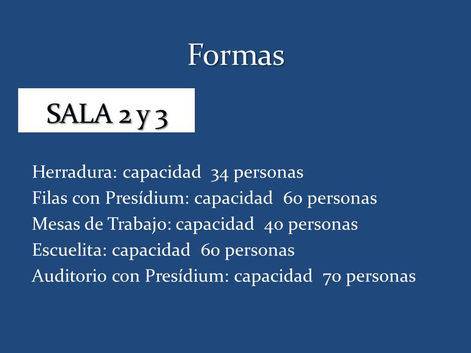 Formas SALA 2 y 3 Herradura: capacidad 34 personas