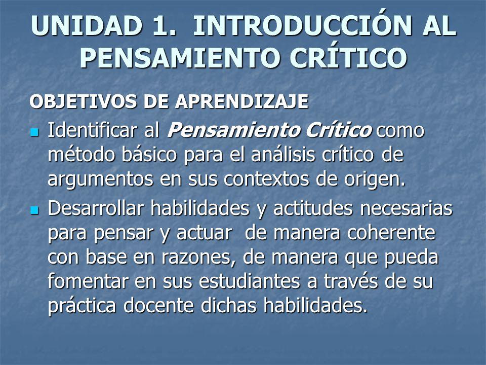 UNIDAD 1. INTRODUCCIÓN AL PENSAMIENTO CRÍTICO