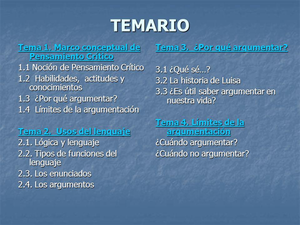 TEMARIO Tema 1. Marco conceptual de Pensamiento Crítico