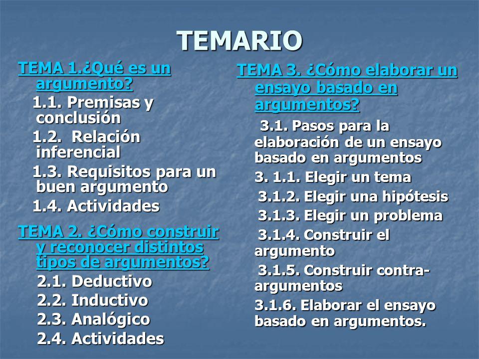 TEMARIO TEMA 1.¿Qué es un argumento 1.1. Premisas y conclusión