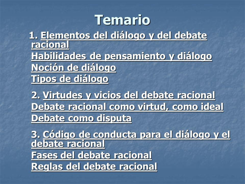 Temario 1. Elementos del diálogo y del debate racional