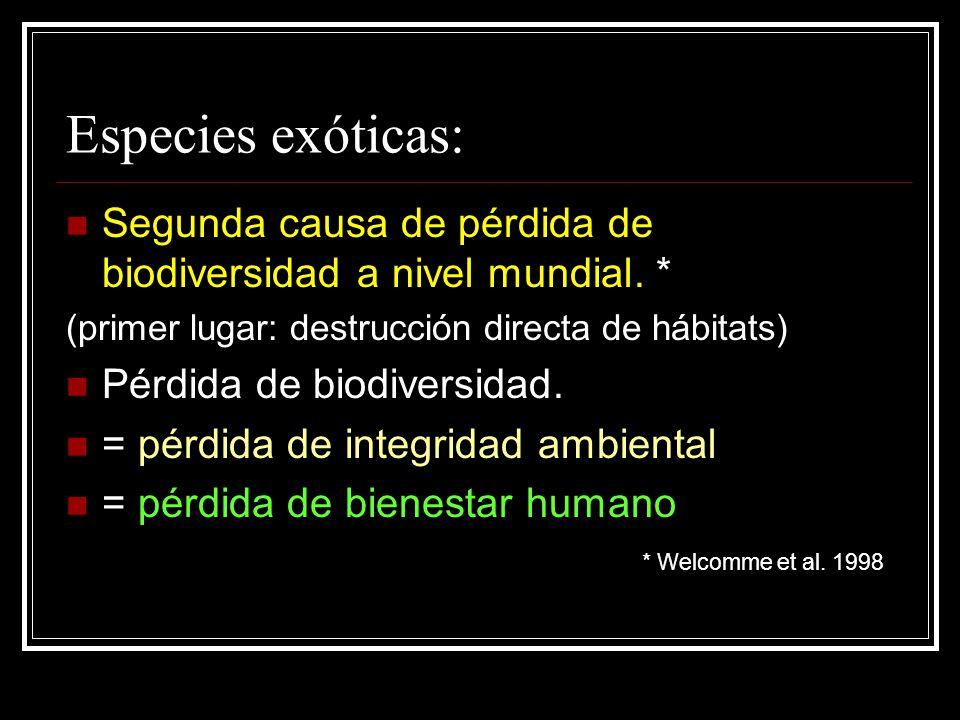 Especies exóticas: Segunda causa de pérdida de biodiversidad a nivel mundial. * (primer lugar: destrucción directa de hábitats)