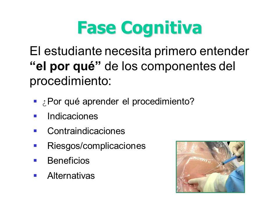 Fase Cognitiva El estudiante necesita primero entender el por qué de los componentes del procedimiento:
