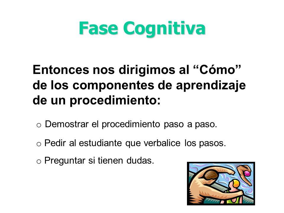 Fase Cognitiva Entonces nos dirigimos al Cómo de los componentes de aprendizaje de un procedimiento: