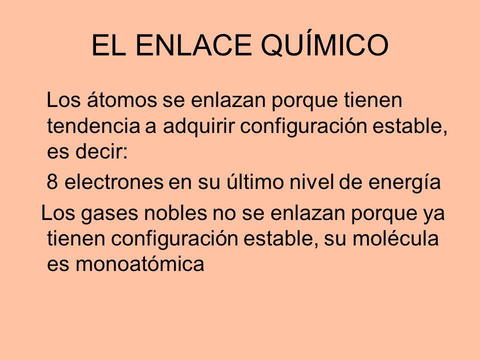 EL ENLACE QUÍMICO Los átomos se enlazan porque tienen tendencia a adquirir configuración estable, es decir: