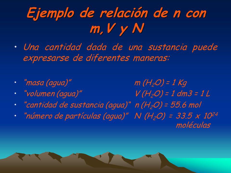 Ejemplo de relación de n con m,V y N