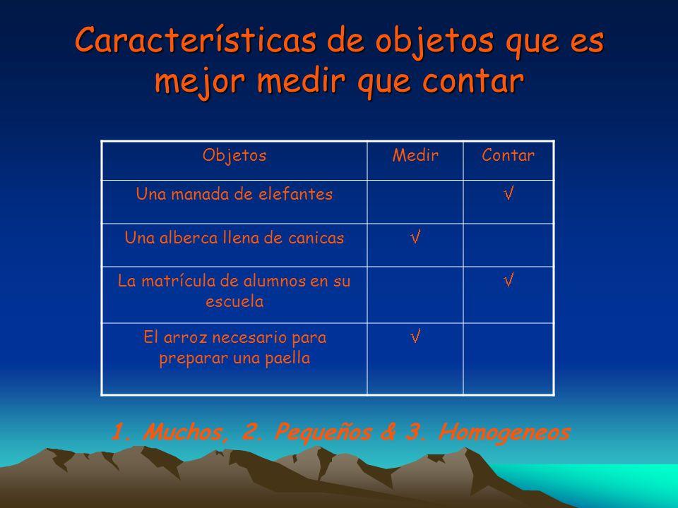 Características de objetos que es mejor medir que contar