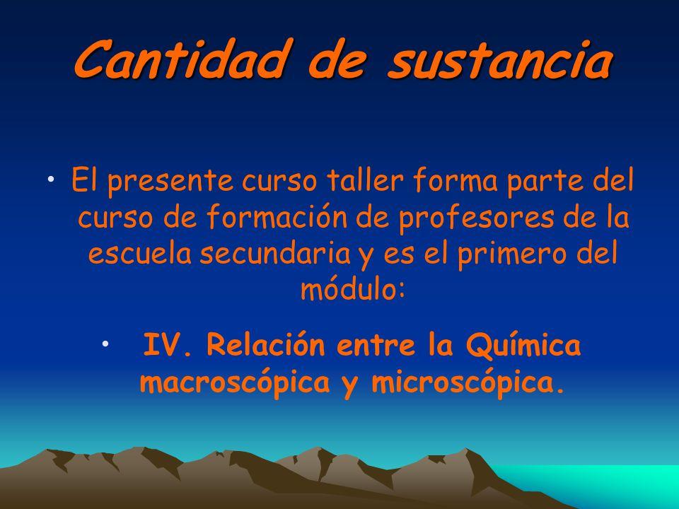 IV. Relación entre la Química macroscópica y microscópica.