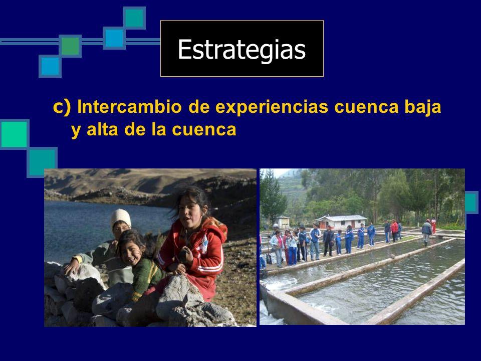 Estrategias c) Intercambio de experiencias cuenca baja y alta de la cuenca