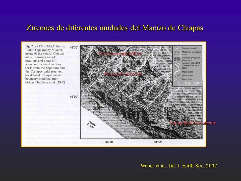 Zircones de diferentes unidades del Macizo de Chiapas