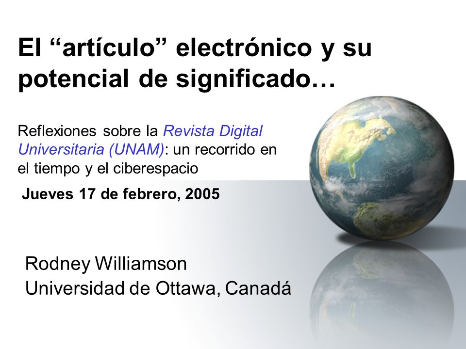 Rodney Williamson Universidad de Ottawa, Canadá