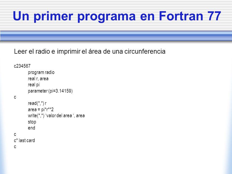 Un primer programa en Fortran 77
