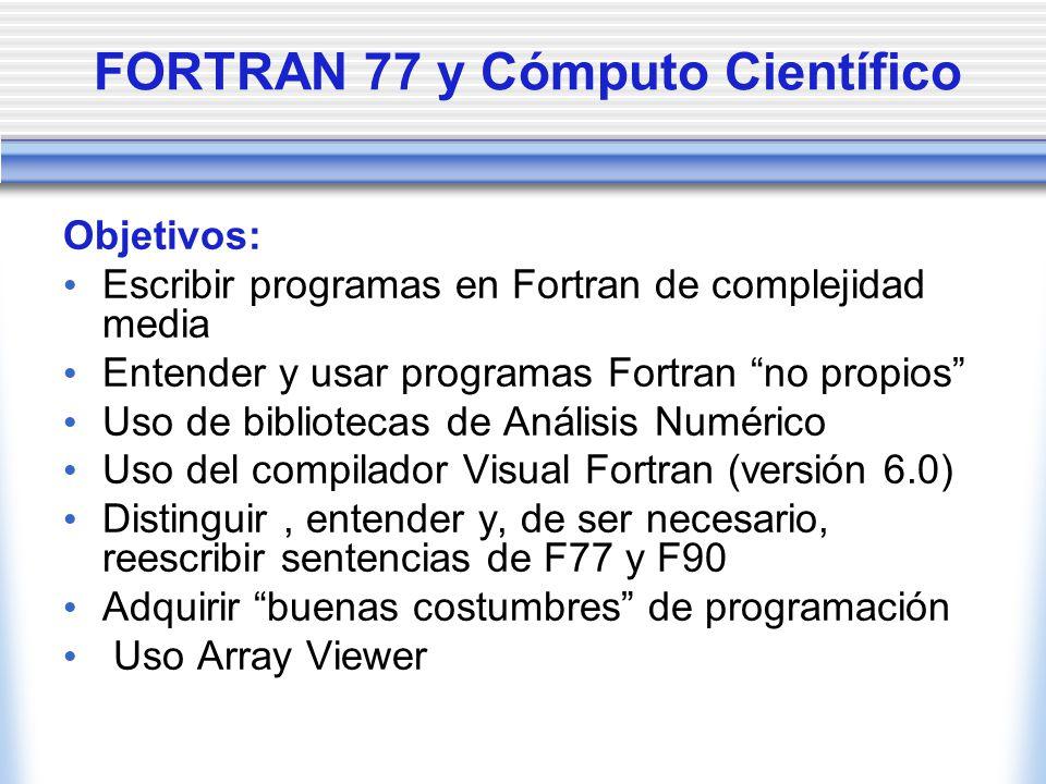 FORTRAN 77 y Cómputo Científico