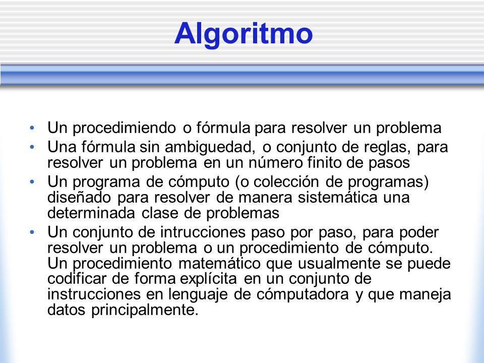 Algoritmo Un procedimiendo o fórmula para resolver un problema