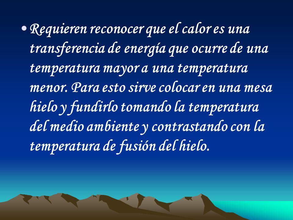 Requieren reconocer que el calor es una transferencia de energía que ocurre de una temperatura mayor a una temperatura menor.