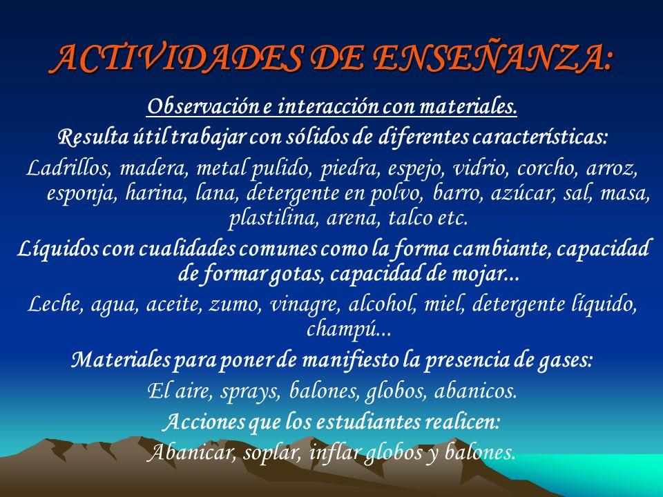 ACTIVIDADES DE ENSEÑANZA: