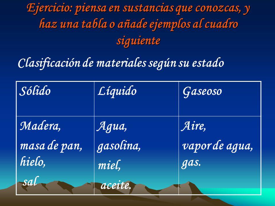 Ejercicio: piensa en sustancias que conozcas, y haz una tabla o añade ejemplos al cuadro siguiente