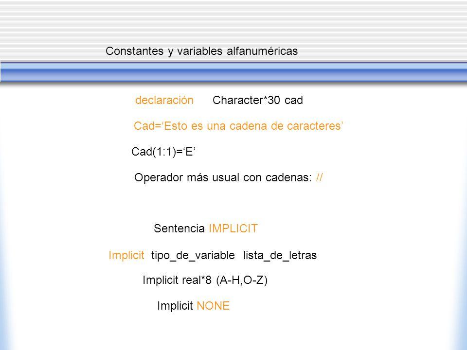 Constantes y variables alfanuméricas