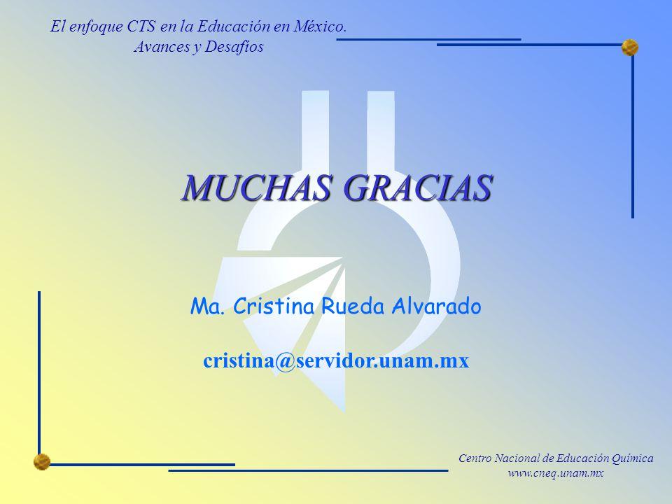 MUCHAS GRACIAS Ma. Cristina Rueda Alvarado cristina@servidor.unam.mx