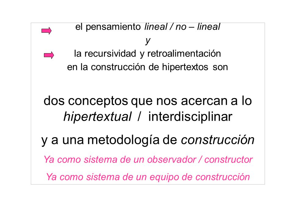 dos conceptos que nos acercan a lo hipertextual / interdisciplinar