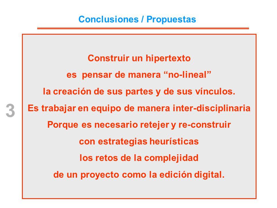 3 Conclusiones / Propuestas Construir un hipertexto