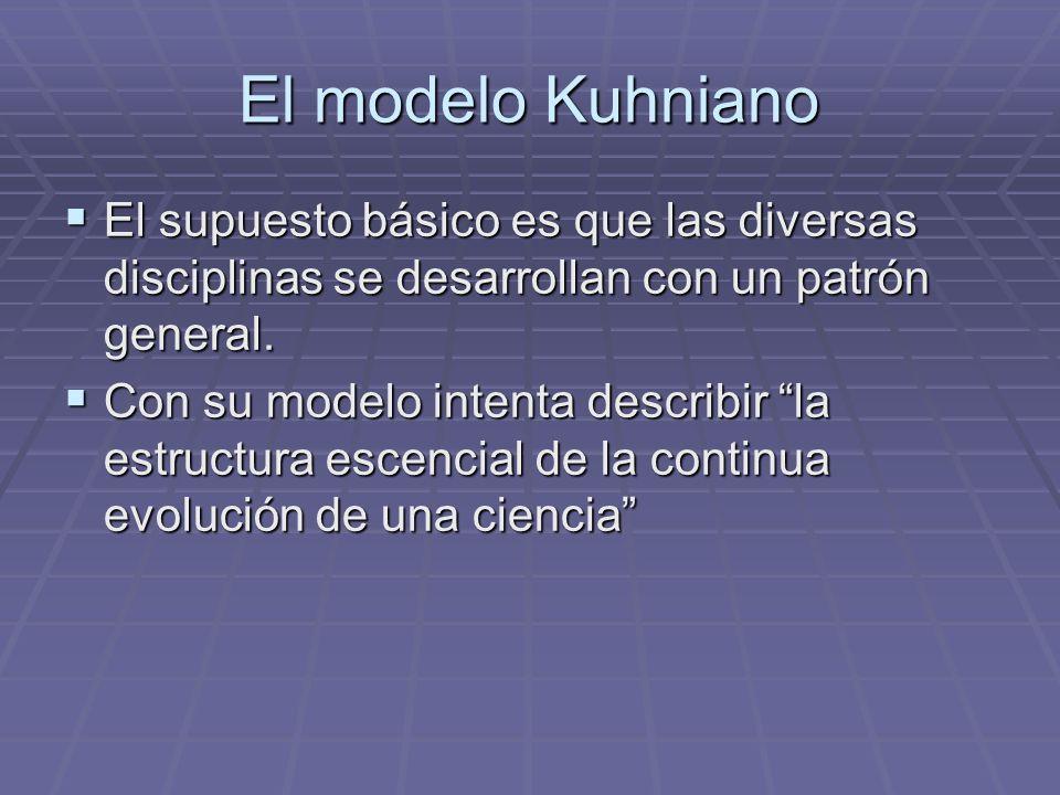 El modelo Kuhniano El supuesto básico es que las diversas disciplinas se desarrollan con un patrón general.