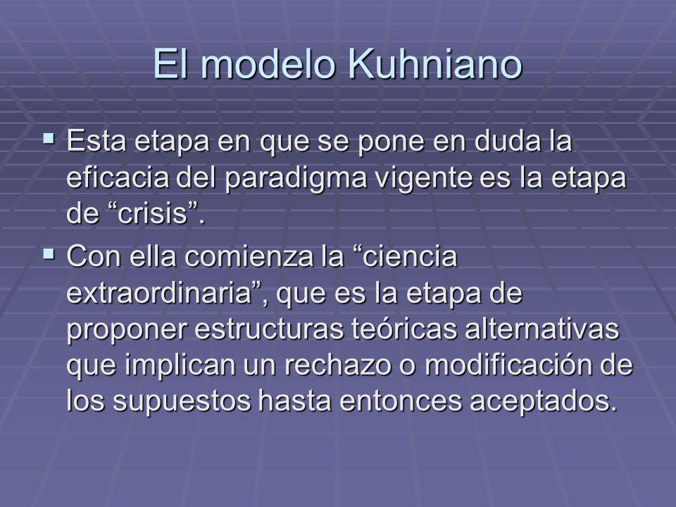 El modelo Kuhniano Esta etapa en que se pone en duda la eficacia del paradigma vigente es la etapa de crisis .