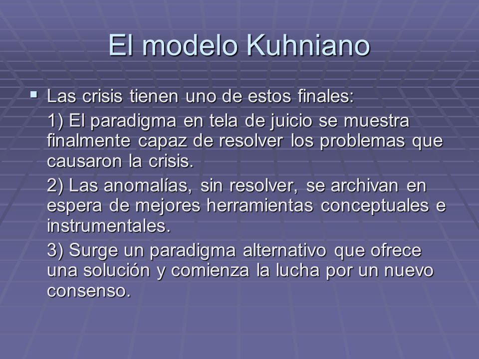 El modelo Kuhniano Las crisis tienen uno de estos finales: