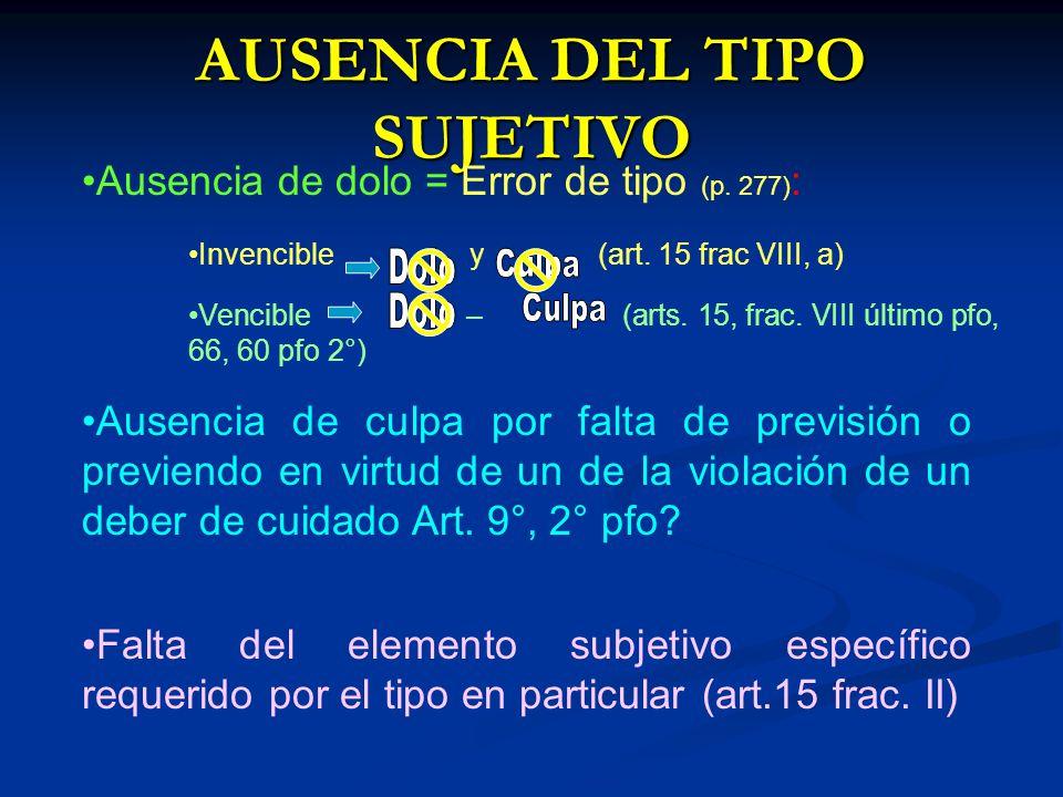 AUSENCIA DEL TIPO SUJETIVO