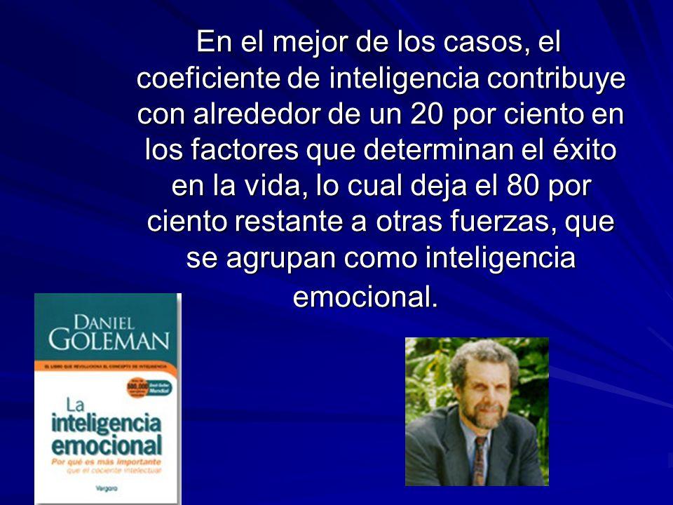 En el mejor de los casos, el coeficiente de inteligencia contribuye con alrededor de un 20 por ciento en los factores que determinan el éxito en la vida, lo cual deja el 80 por ciento restante a otras fuerzas, que se agrupan como inteligencia emocional.