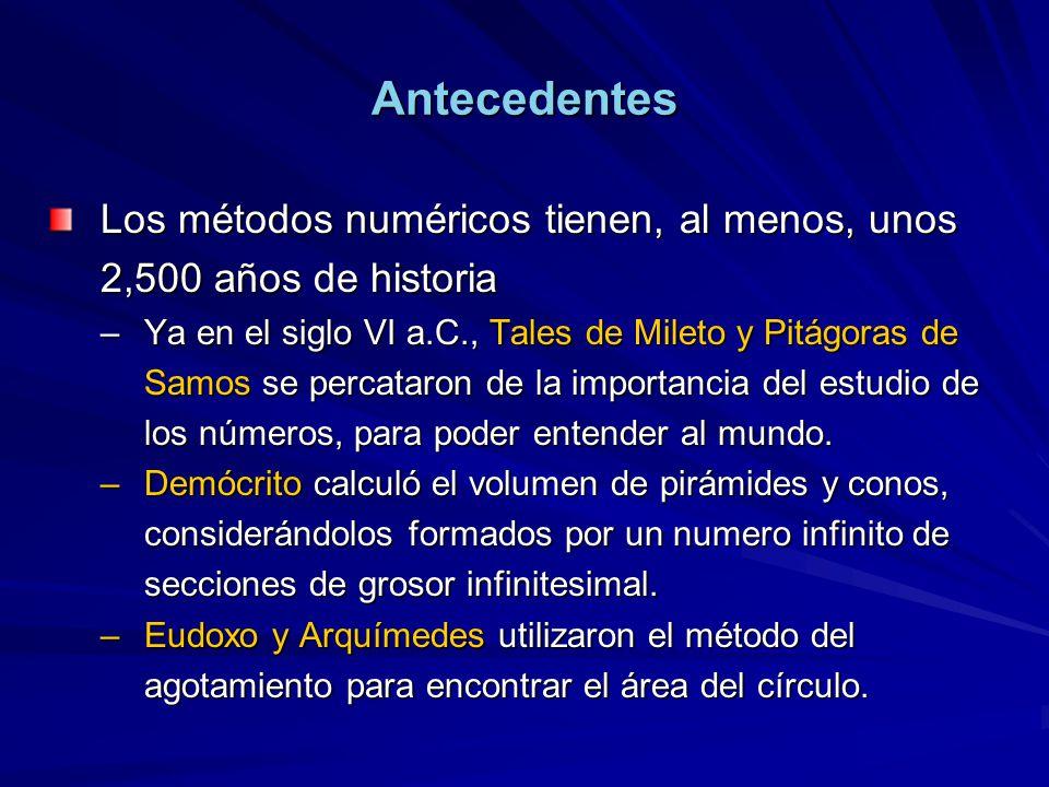 Antecedentes Los métodos numéricos tienen, al menos, unos 2,500 años de historia.