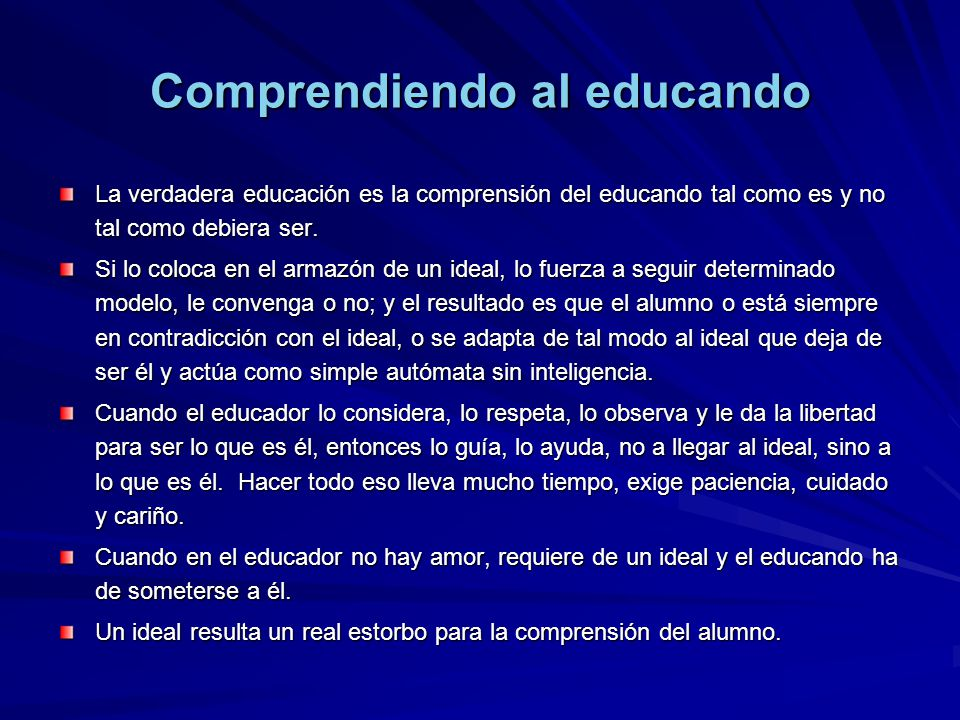 Comprendiendo al educando