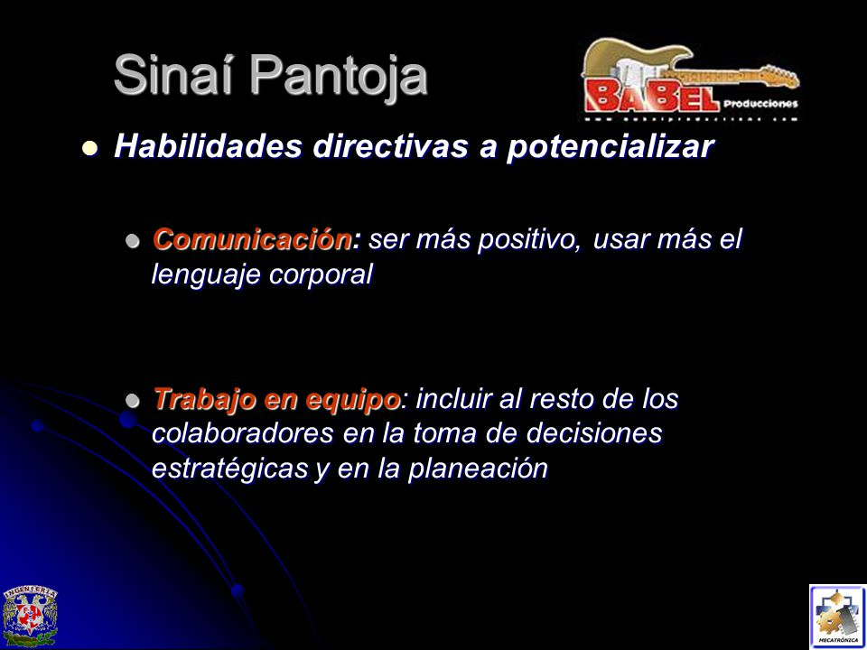 Sinaí Pantoja Habilidades directivas a potencializar