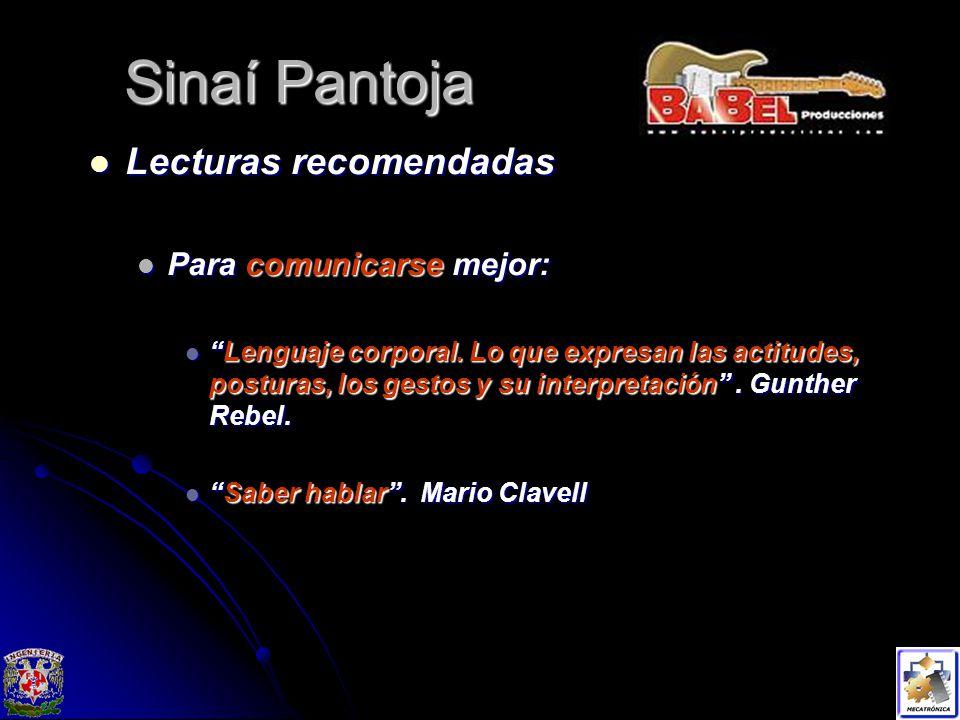 Sinaí Pantoja Lecturas recomendadas Para comunicarse mejor: