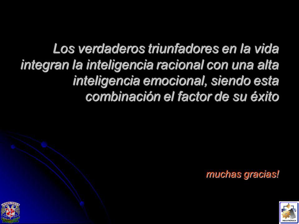 Los verdaderos triunfadores en la vida integran la inteligencia racional con una alta inteligencia emocional, siendo esta combinación el factor de su éxito muchas gracias!