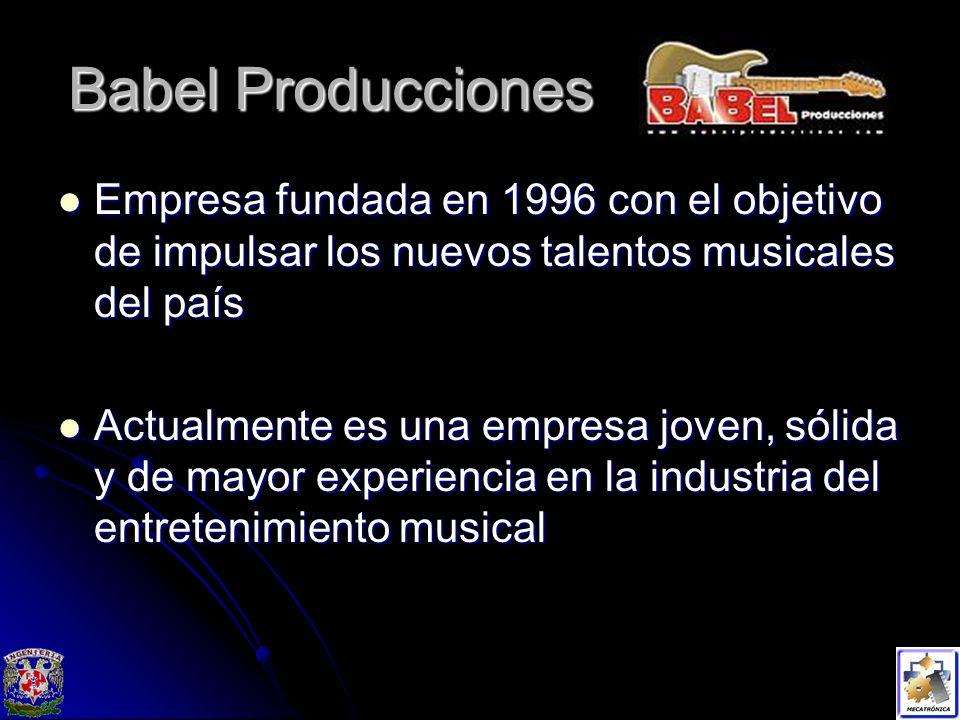 Babel Producciones Empresa fundada en 1996 con el objetivo de impulsar los nuevos talentos musicales del país.