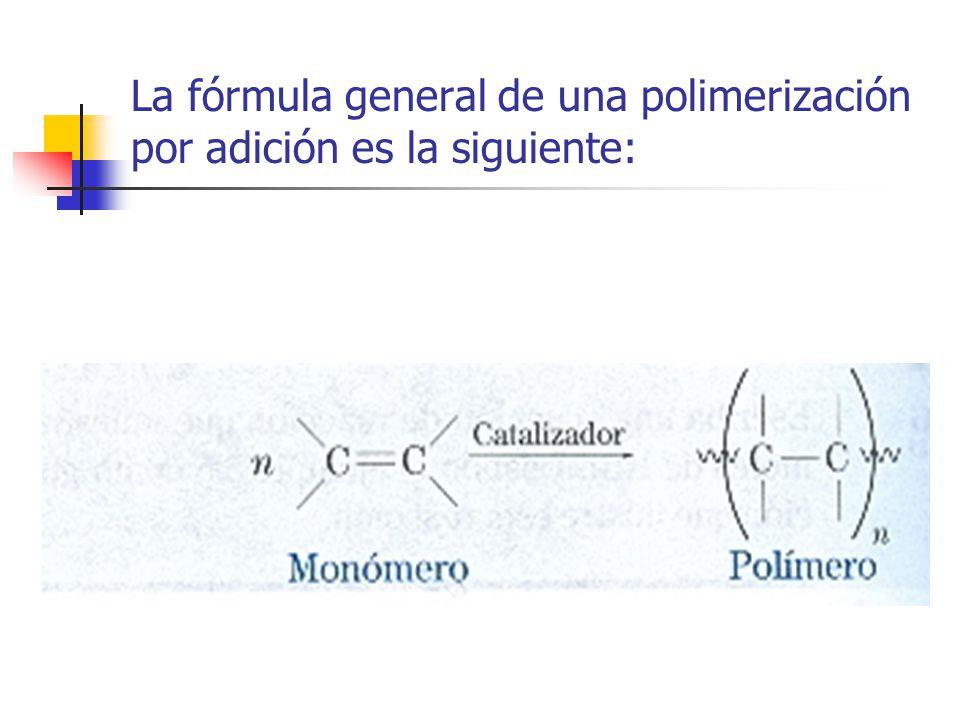La fórmula general de una polimerización por adición es la siguiente: