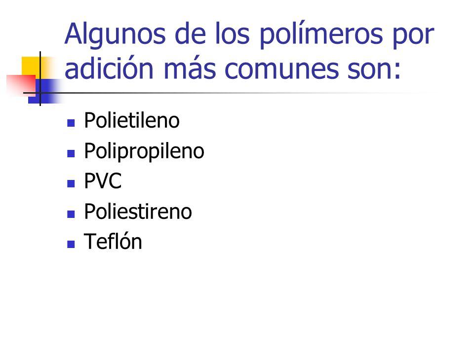 Algunos de los polímeros por adición más comunes son: