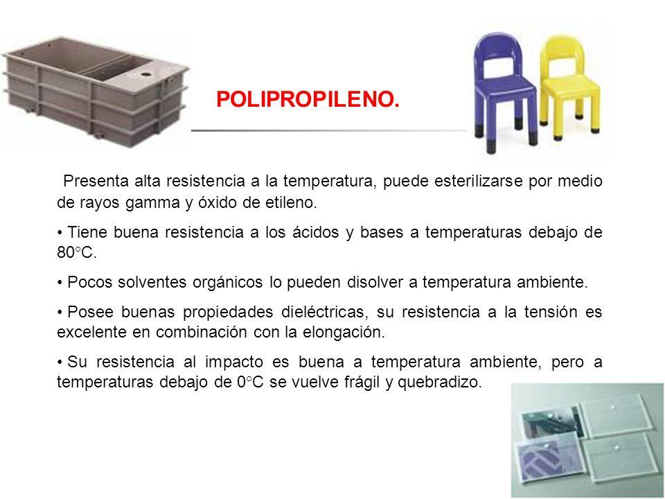 POLIPROPILENO. Presenta alta resistencia a la temperatura, puede esterilizarse por medio de rayos gamma y óxido de etileno.