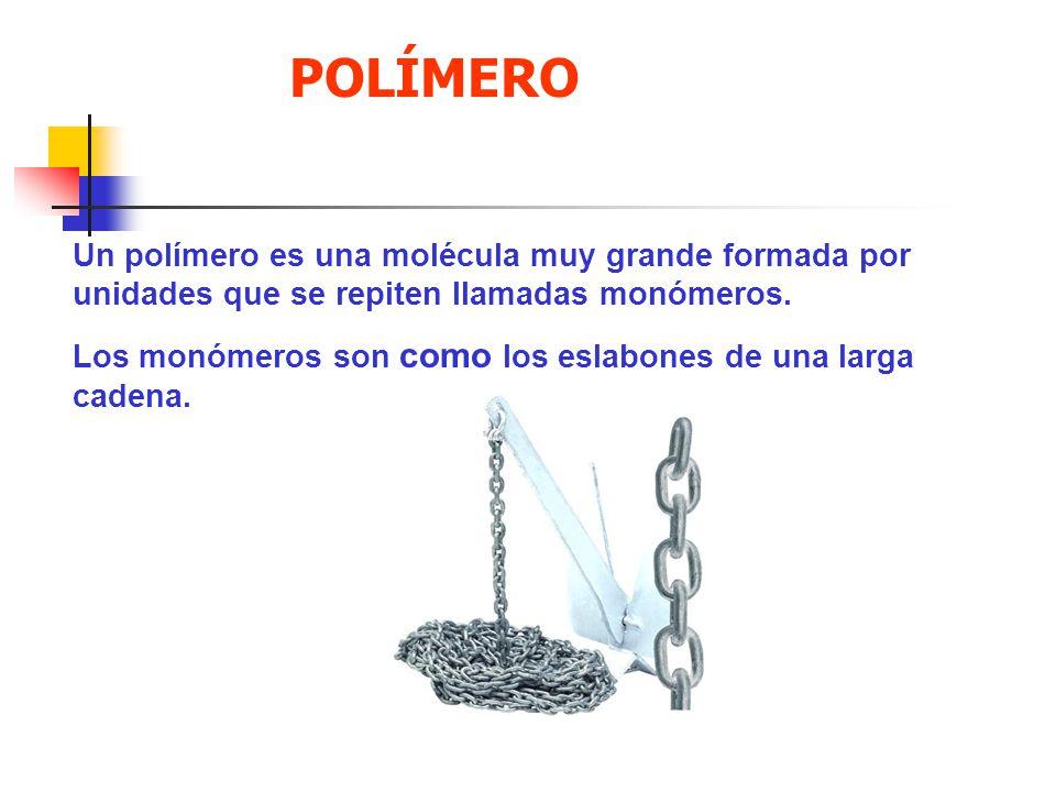 POLÍMERO Un polímero es una molécula muy grande formada por unidades que se repiten llamadas monómeros.
