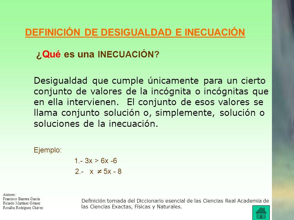 DEFINICIÓN DE DESIGUALDAD E INECUACIÓN