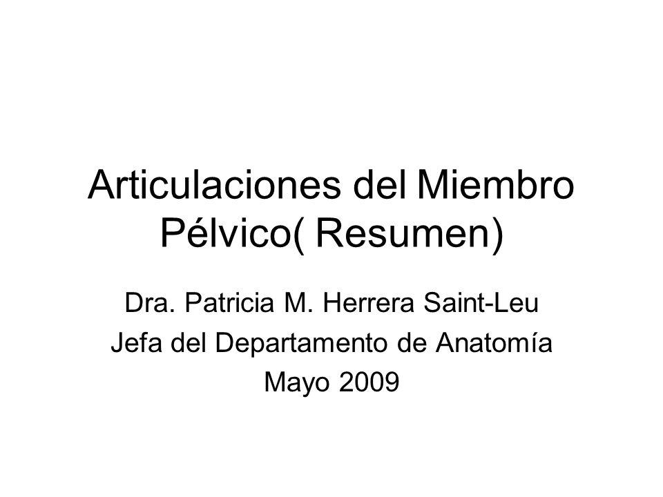 Articulaciones del Miembro Pélvico( Resumen)
