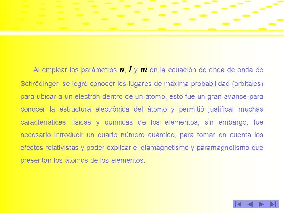 Al emplear los parámetros n, l y m en la ecuación de onda de onda de Schrödinger, se logró conocer los lugares de máxima probabilidad (orbitales) para ubicar a un electrón dentro de un átomo, esto fue un gran avance para conocer la estructura electrónica del átomo y permitió justificar muchas características físicas y químicas de los elementos; sin embargo, fue necesario introducir un cuarto número cuántico, para tomar en cuenta los efectos relativistas y poder explicar el diamagnetismo y paramagnetismo que presentan los átomos de los elementos.