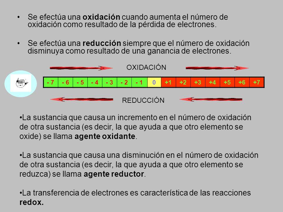 Se efectúa una oxidación cuando aumenta el número de oxidación como resultado de la pérdida de electrones.