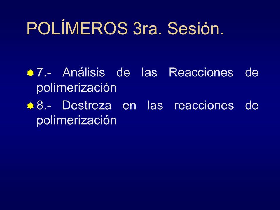 POLÍMEROS 3ra. Sesión. 7.- Análisis de las Reacciones de polimerización.