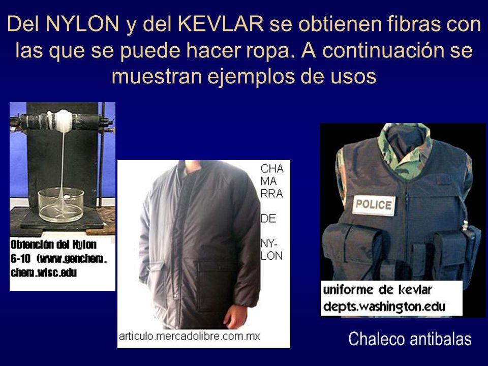 Del NYLON y del KEVLAR se obtienen fibras con las que se puede hacer ropa. A continuación se muestran ejemplos de usos