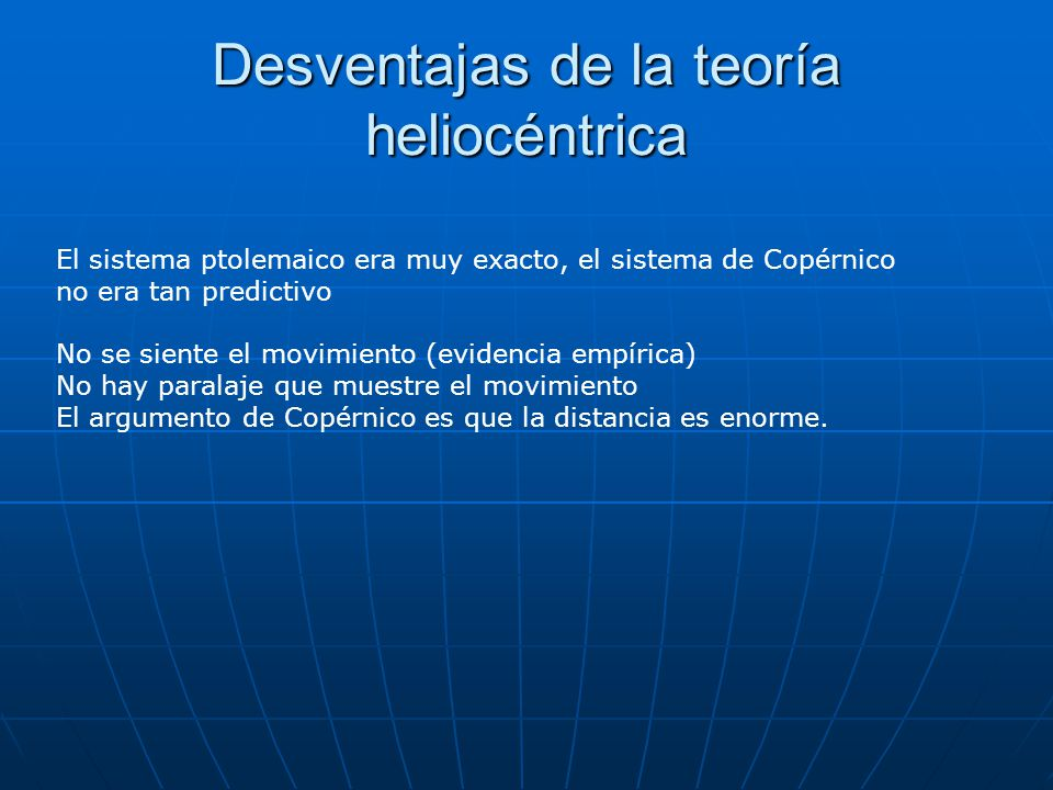 Desventajas de la teoría heliocéntrica