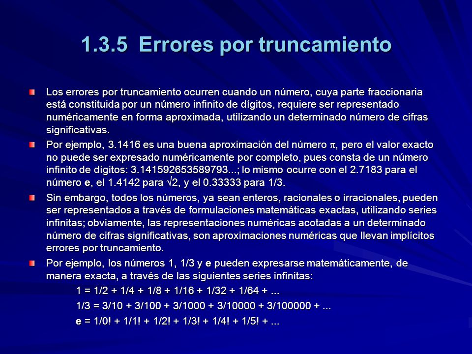 1.3.5 Errores por truncamiento