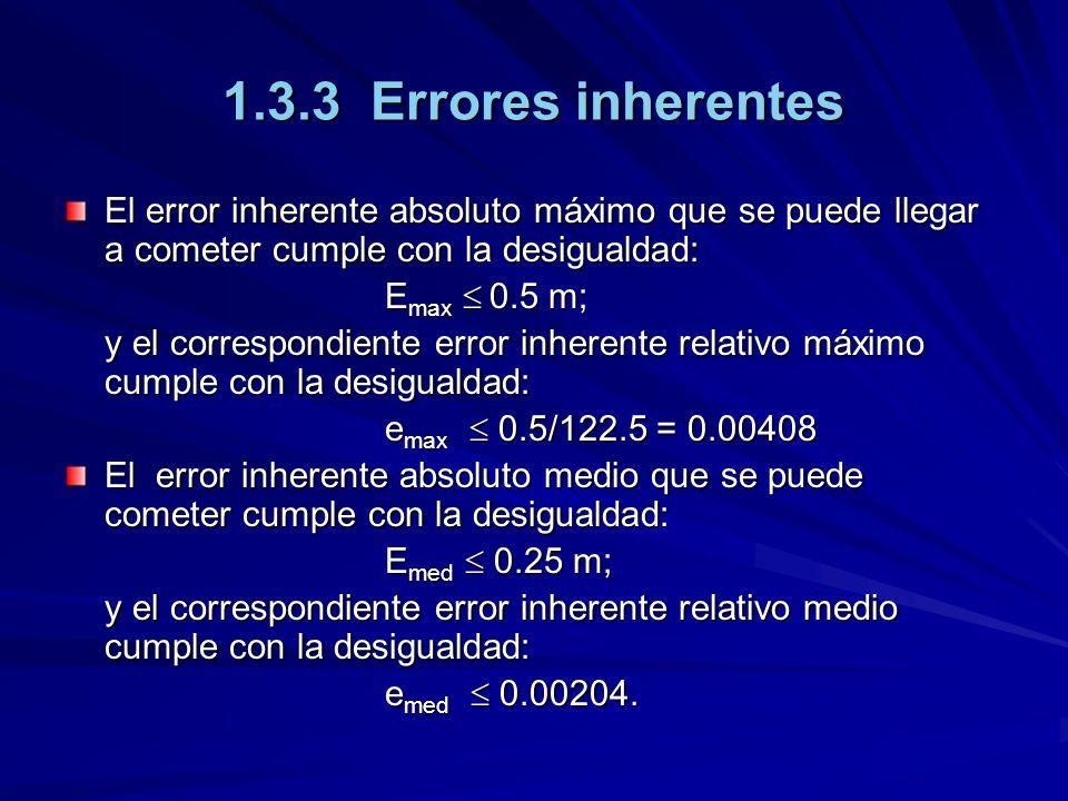 1.3.3 Errores inherentes El error inherente absoluto máximo que se puede llegar a cometer cumple con la desigualdad: